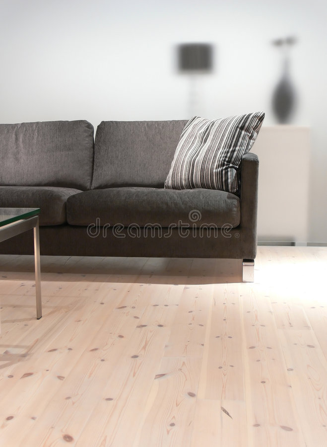 Sofà grigio con il cuscino fotografia stock libera da diritti
