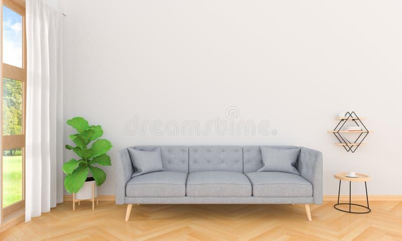 Sofà grigio nell'interno del salone, rappresentazione 3D illustrazione vettoriale
