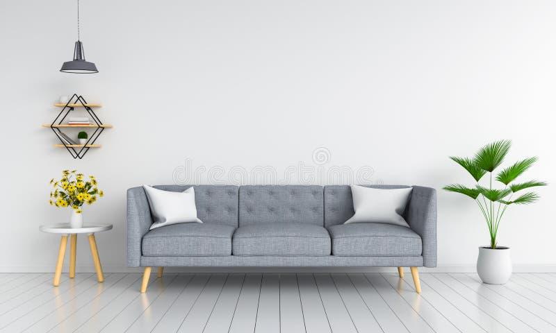 Sofà grigio in salone per il modello, rappresentazione 3D immagini stock libere da diritti