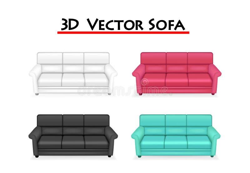 Sofà isolato di vettore 3D su fondo bianco, arte illustrazione di stock