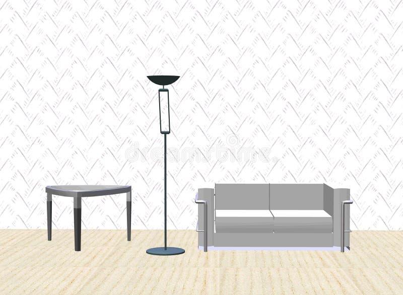 Sofà, lampada, tabella royalty illustrazione gratis