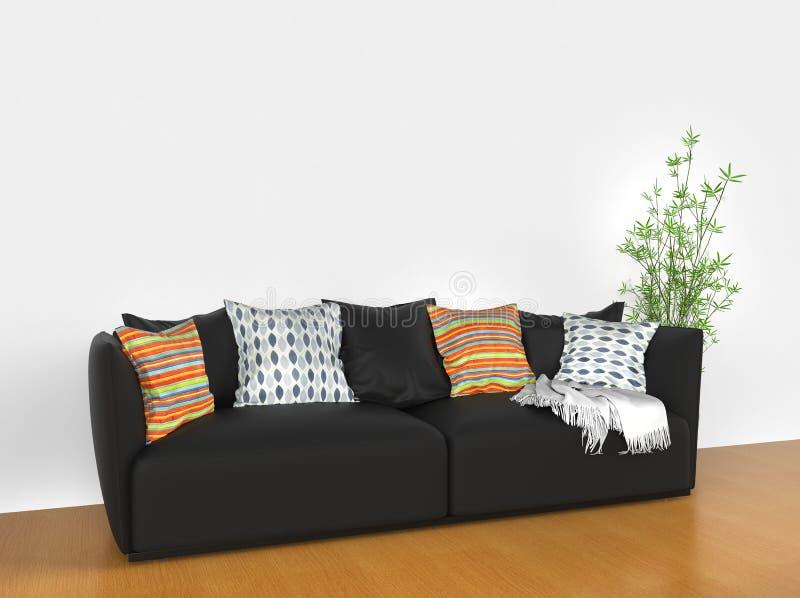 Sofà moderno con i cuscini variopinti fotografia stock libera da diritti