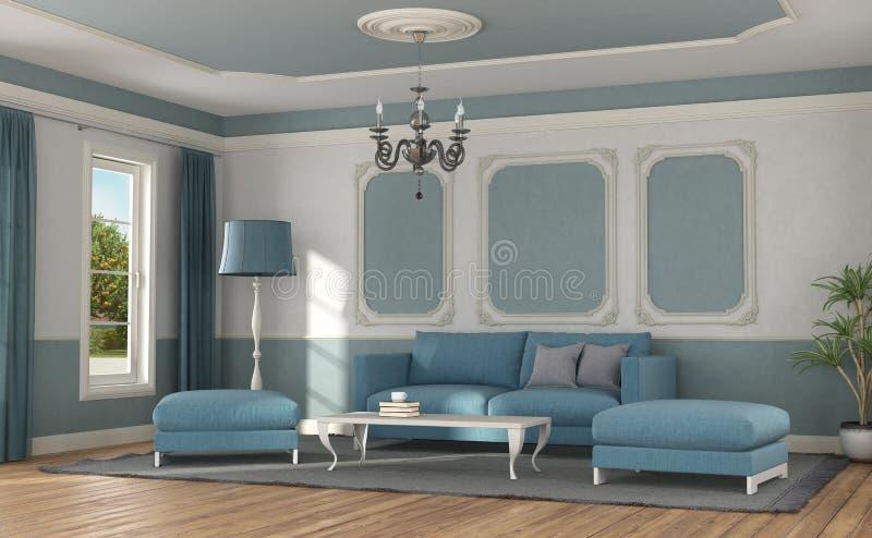 Sofà moderno in una stanza nello stile classico royalty illustrazione gratis