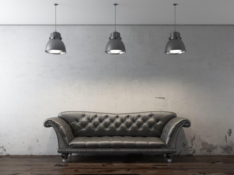 Sofà nero davanti alla parete del grunge illustrazione vettoriale