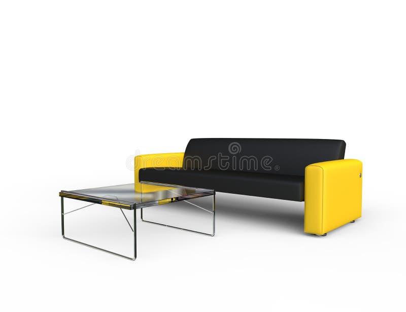 Sofà nero e giallo illustrazione vettoriale