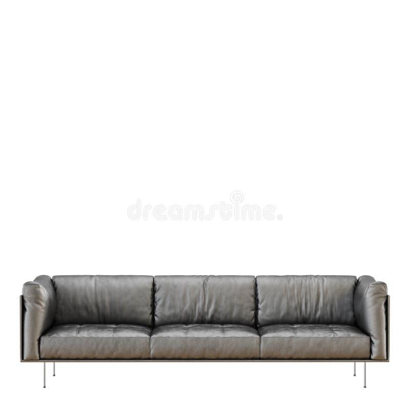 Sofà nero molle di cuoio con i popolare su un fondo bianco 3d royalty illustrazione gratis