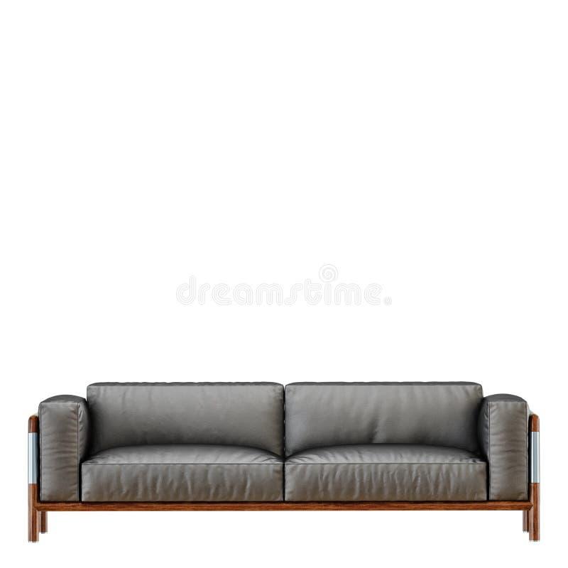 Sofà nero molle di cuoio con i popolare su un fondo bianco 3d illustrazione vettoriale