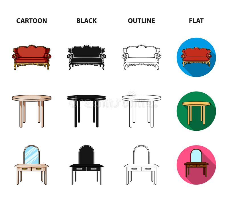 Sofà, poltrona, tavola, specchio Mobilia ed icone domestiche della raccolta del interiorset nel fumetto, il nero, profilo, stile  illustrazione di stock