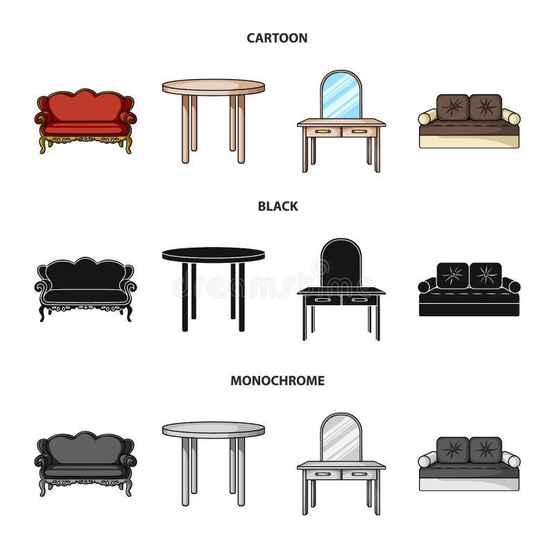 Sofà, poltrona, tavola, specchio Mobilia ed icone domestiche della raccolta del interiorset nel fumetto, il nero, vettore monocro royalty illustrazione gratis
