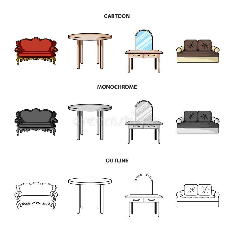 Sofà, poltrona, tavola, specchio Mobilia ed icone domestiche della raccolta del interiorset nel fumetto, profilo, stile monocroma illustrazione vettoriale