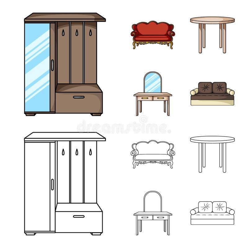 Sofà, poltrona, tavola, specchio Mobilia ed icone domestiche della raccolta del interiorset nel fumetto, simbolo di vettore di st illustrazione vettoriale