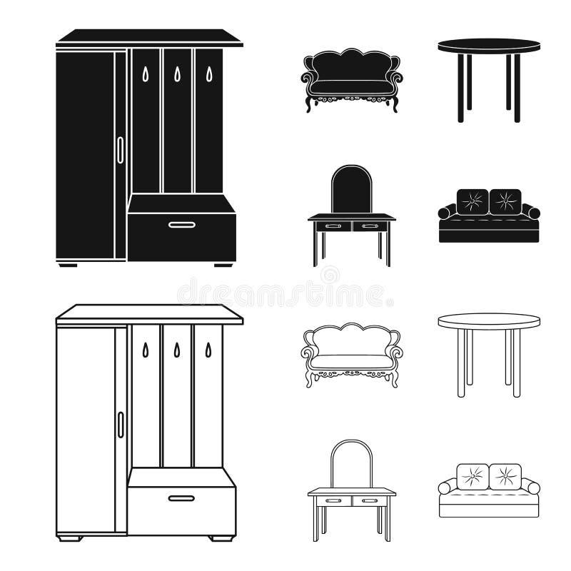 Sofà, poltrona, tavola, specchio Mobilia ed icone domestiche della raccolta del interiorset nel nero, simbolo di vettore di stile illustrazione vettoriale