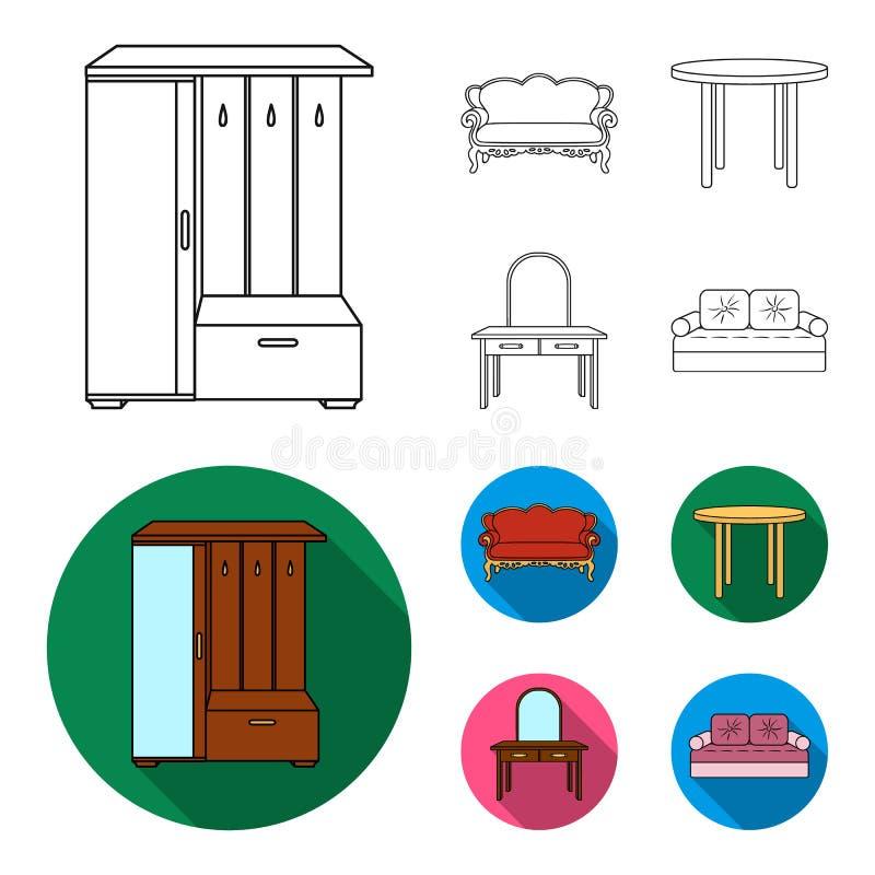Sofà, poltrona, tavola, specchio Mobilia ed icone domestiche della raccolta del interiorset nel profilo, azione piane di simbolo  illustrazione vettoriale