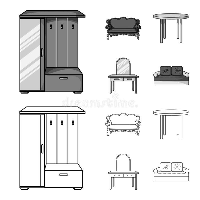 Sofà, poltrona, tavola, specchio Mobilia ed icone domestiche della raccolta del interiorset nel profilo, simbolo monocromatico di royalty illustrazione gratis