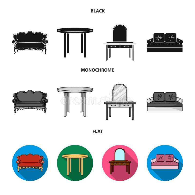 Sofà, poltrona, tavola, specchio Mobilia ed icone domestiche della raccolta del interiorset nel vettore nero, piano, monocromatic illustrazione di stock