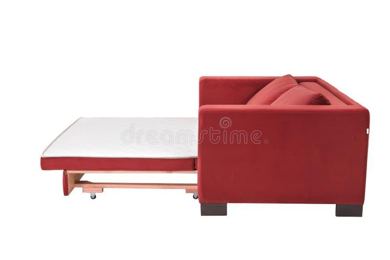 Sofà rosso del letto del tessuto bianco accogliente di due sedili fotografie stock