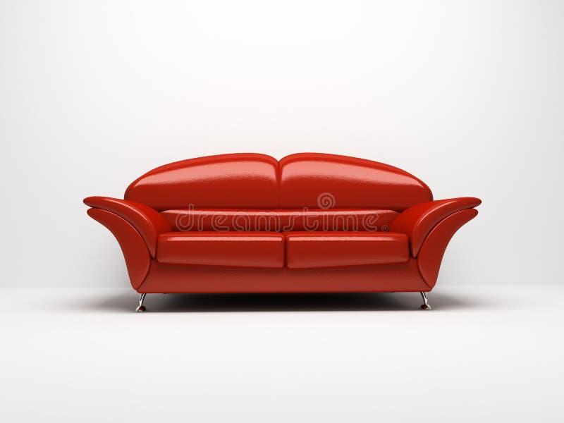 Sofà rosso isolato su priorità bassa bianca illustrazione di stock