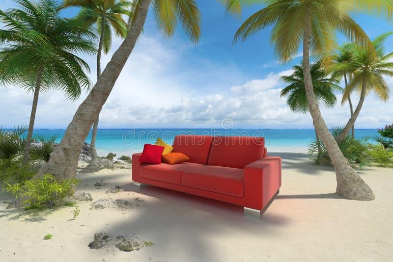 Sofà sulla spiaggia illustrazione vettoriale