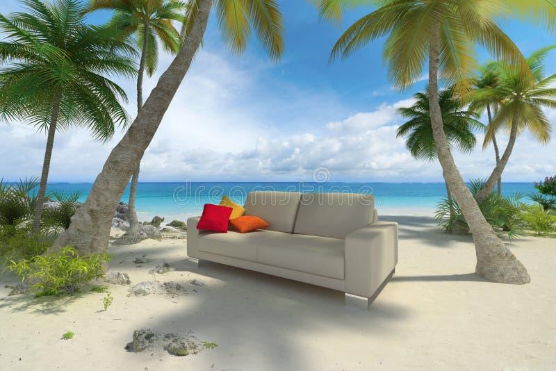 Sofà sulla spiaggia illustrazione di stock