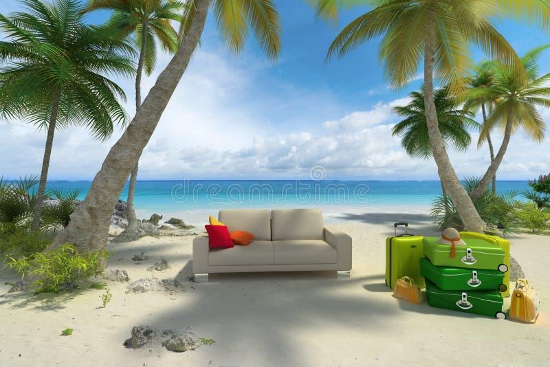 Sofà sulla spiaggia con bagagli illustrazione di stock