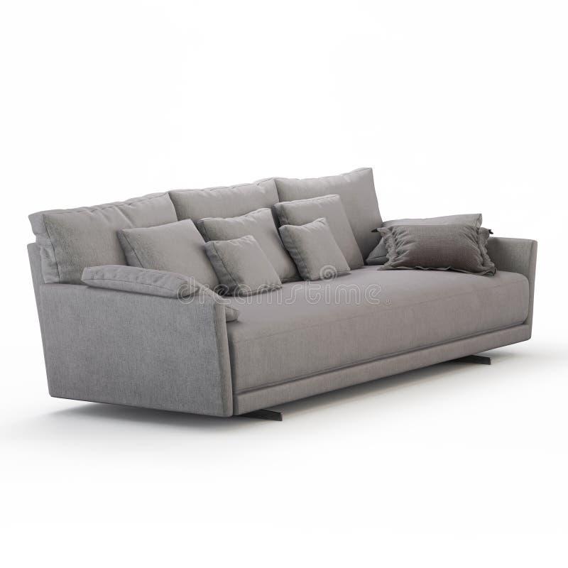 Sofà Three-seater con i cuscini su un fondo bianco 3d royalty illustrazione gratis