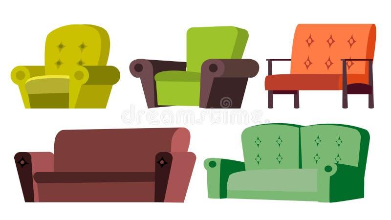Sofà, vettore dell'insieme della sedia Mobilia domestica Sofà e pranzo-vagone angolari nell'interiore Illustrazione isolata del f illustrazione di stock
