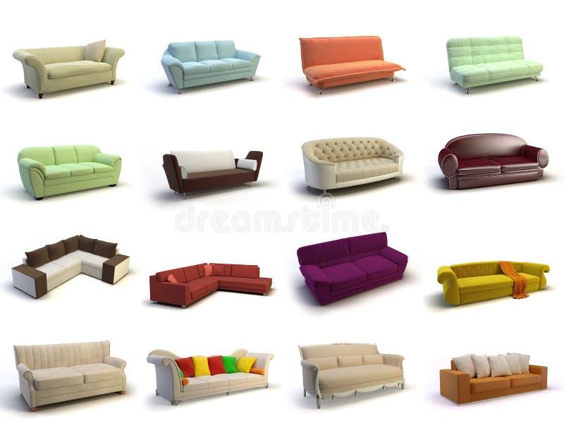 sofá 3d ilustração stock