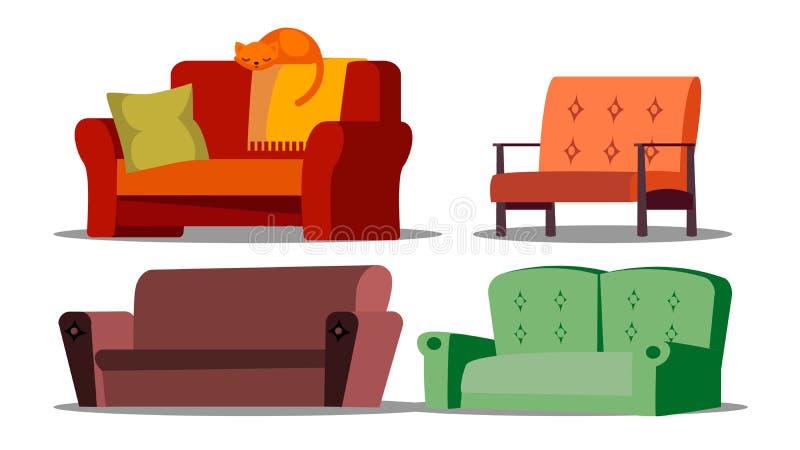 Sofá acogedor, diván, sistema amortiguado del vector de los muebles ilustración del vector