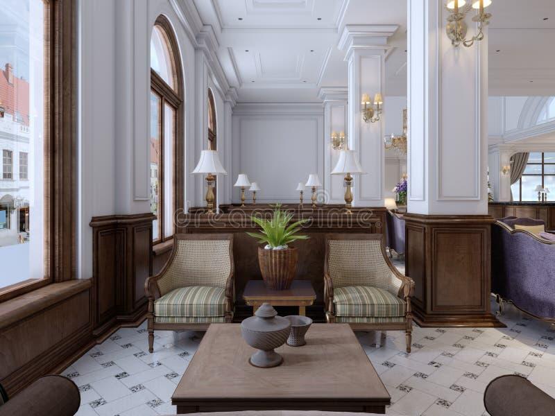 Sofá acolchado de cuero con la butaca suave de la tela y el magazi de madera ilustración del vector