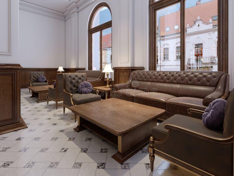 Sofá acolchado de cuero con la butaca suave de la tela y la tabla de madera de la revista en un interior clásico del hotel en un  libre illustration