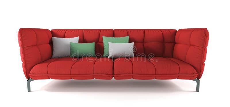 Sofá acolchoado vermelho moderno da tela nos pés do metal com os descansos no fundo branco isolado Mobília, objeto interior Escar ilustração stock