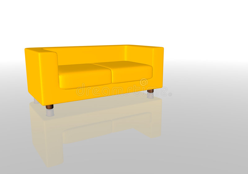 Sofá Amarelo Fotografia de Stock