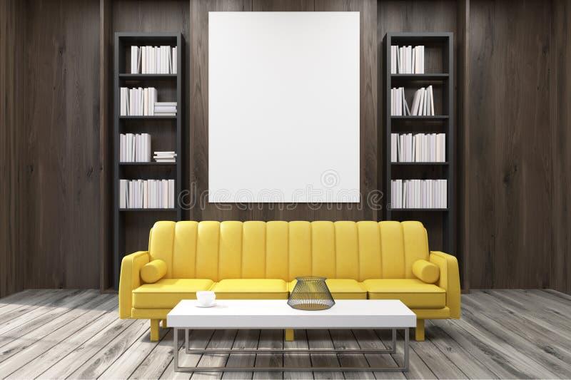 Sofá amarelo em um escritório do CEO ilustração do vetor