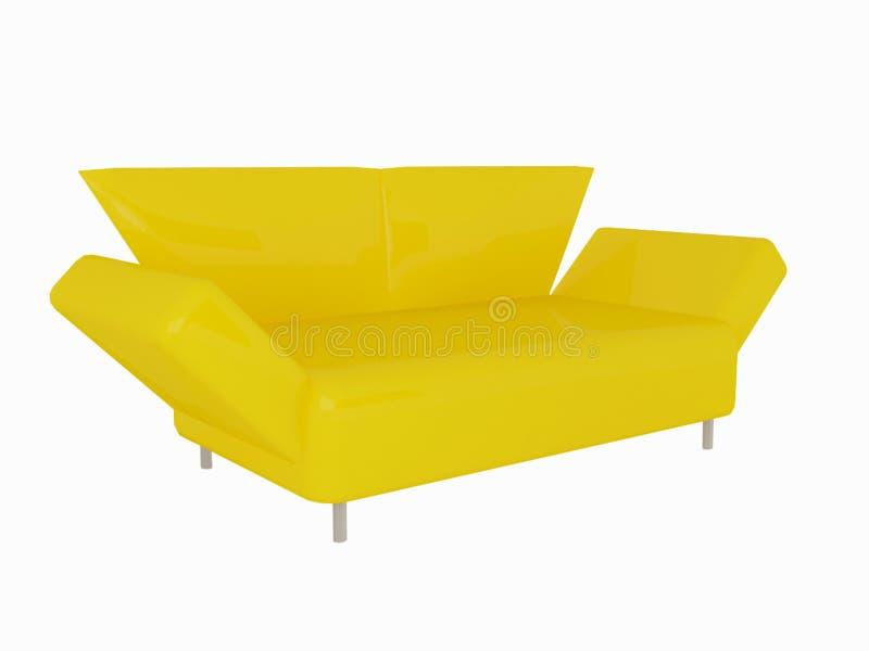 Sofá amarelo moderno ilustração do vetor