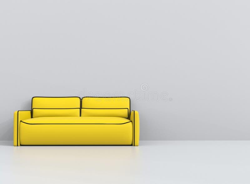 Sofá amarillo con los esquemas negros en la sala de estar blanca stock de ilustración