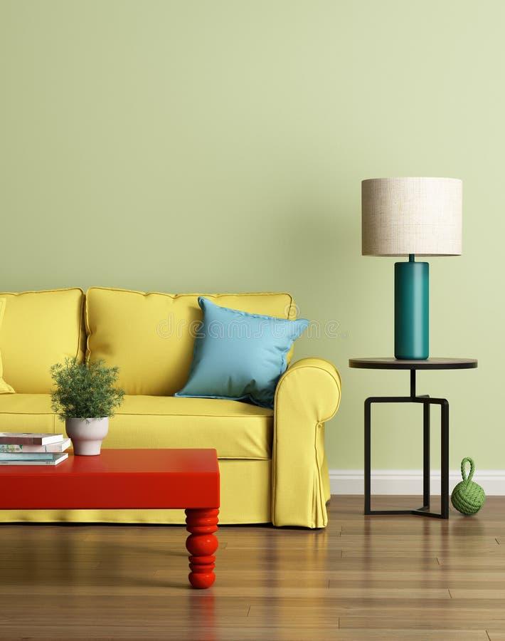 Sofá amarillo moderno en un interior de lujo verde claro stock de ilustración
