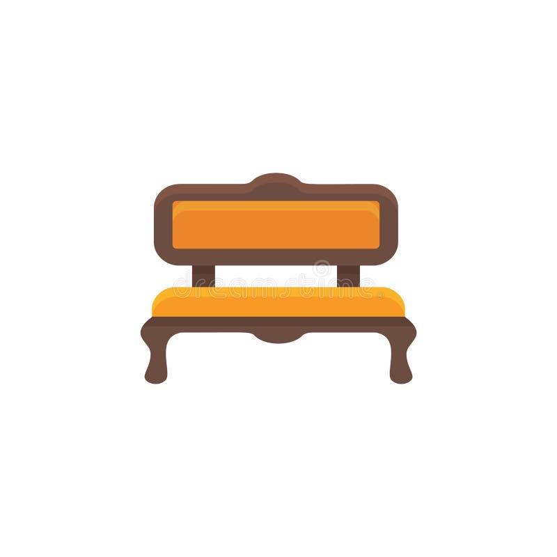 Sofá anaranjado Banco amortiguado Ilustración del vector Icono plano de stock de ilustración