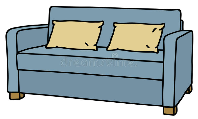 Sofá azul ilustração do vetor