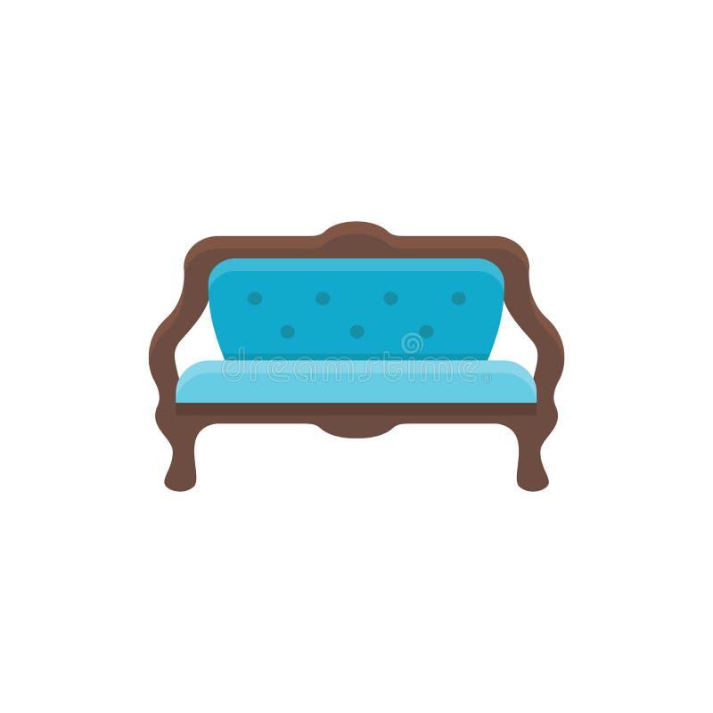 Sofá azul Banco amortiguado Ilustración del vector Icono plano del SE ilustración del vector