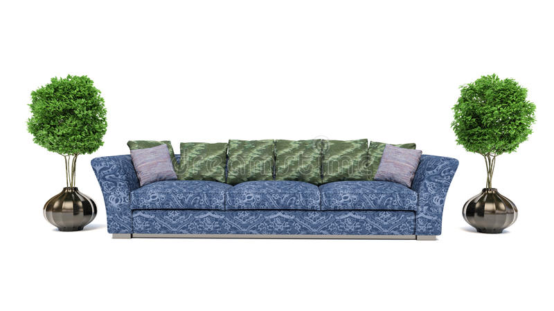 Sofá azul no fundo branco ilustração 3D ilustração royalty free