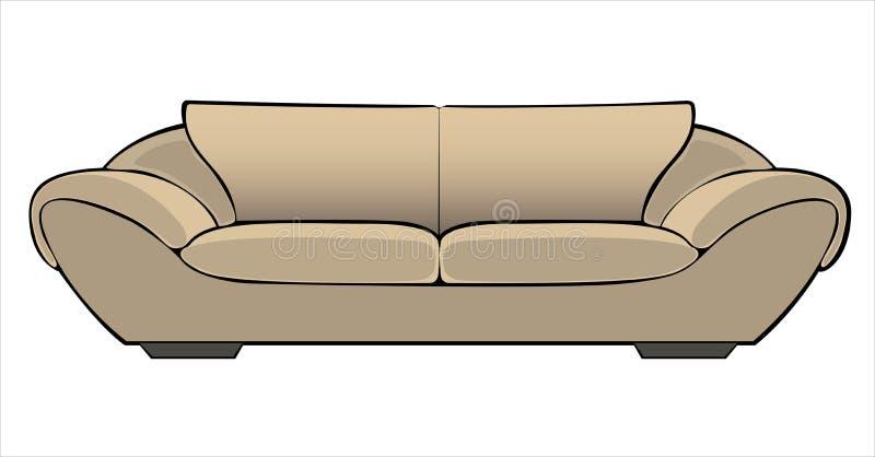 Sofá bege dos desenhos animados do vetor isolado no branco ilustração royalty free