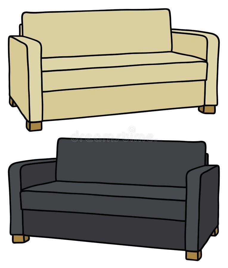 Sofá bege e preto ilustração stock