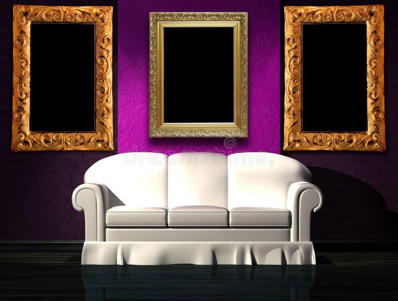 Sofá blanco con la parte púrpura de la pared y de los bastidores ilustración del vector