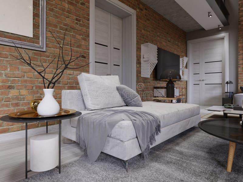 Sofá blanco con la tabla lateral con la lámpara negra, en la pared de ladrillo del fondo con una imagen vacía almohadas, manta, a ilustración del vector