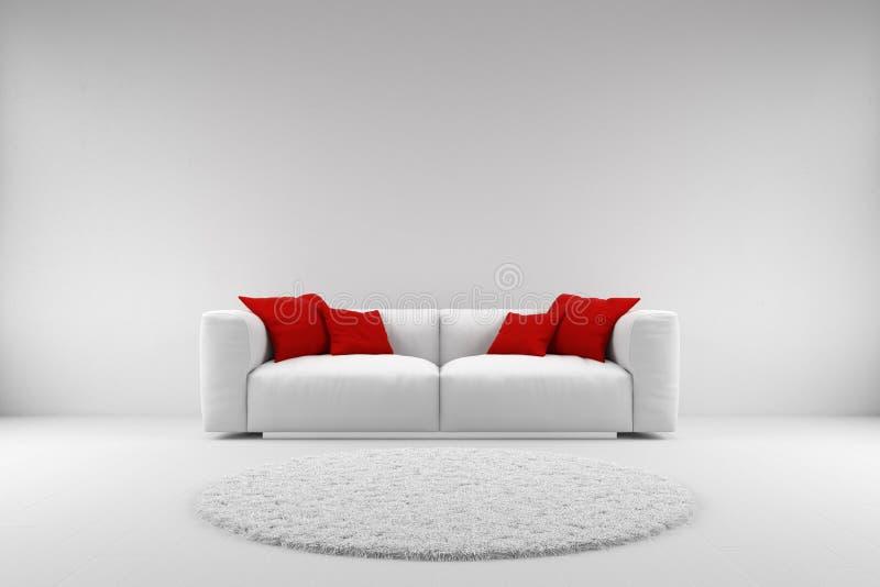 Sofá blanco con las almohadas rojas libre illustration