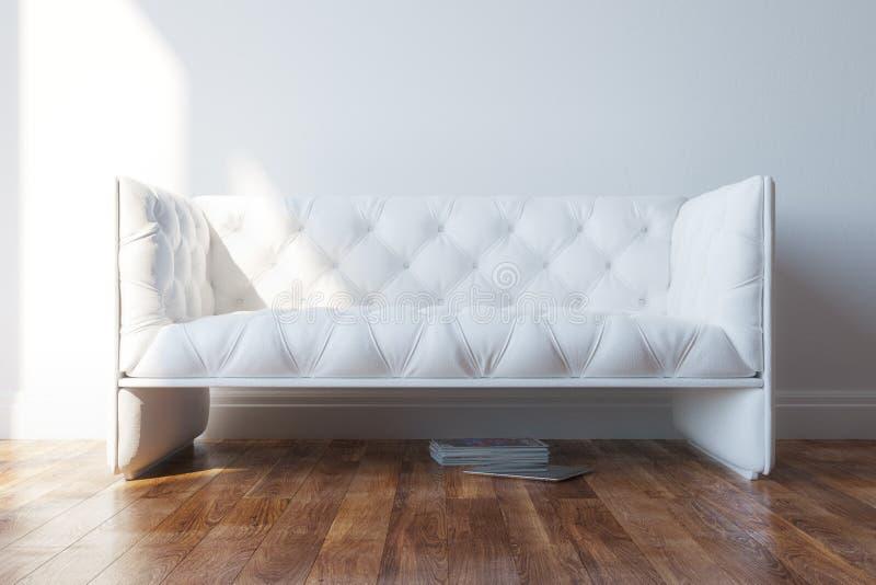 Sofá blanco del diseño del vintage en interior minimalista fotos de archivo libres de regalías