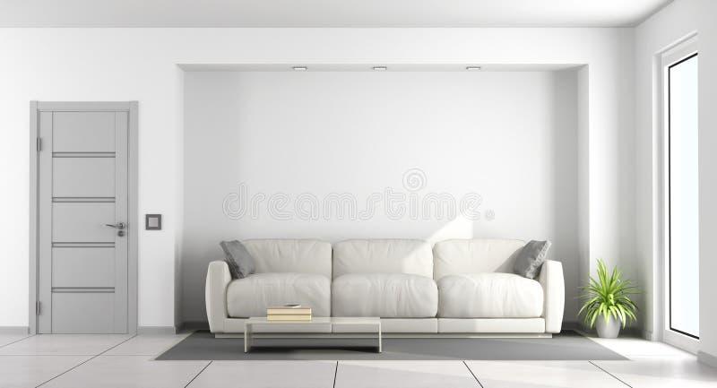 Sofá blanco en una sala de estar ilustración del vector