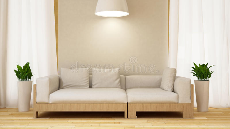 Sofá blanco y de madera con la planta en la representación blanca de room-3D stock de ilustración