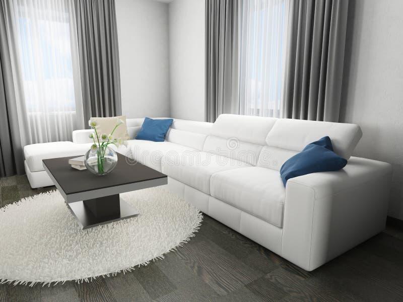 Sofá branco no interior moderno ilustração royalty free