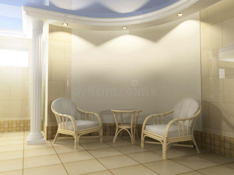 Sofá branco no interior moderno, rendição de 3 d ilustração royalty free